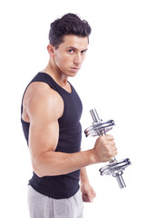 Young muscular man lifting weights, isolated on white