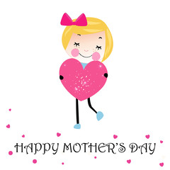 Happy mother's day card lovely girl with heart