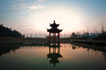 China of ancient pavilion at sunrise