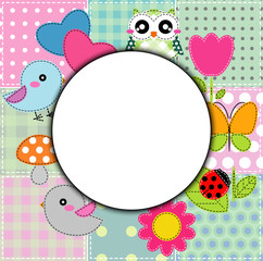 Background with heart, flower,  butterfly and birds