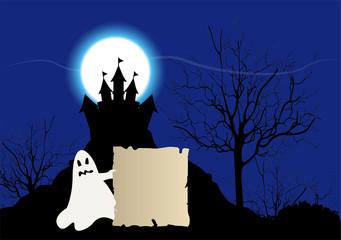 illustazione di castello con fantasma
