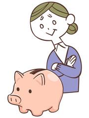 貯金箱と年配の女性