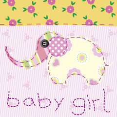 baby girl pink patchwork with elephant