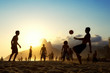Sunset Silhouettes Playing Altinho Futebol Beach Football Brazil - 64257252