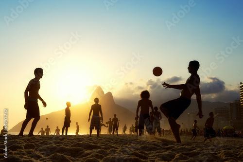 Poster Sunset Silhouettes Playing Altinho Futebol Beach Football Brazil