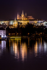 The View on Prague gothic Castle with Charles Bridge