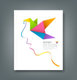 Fototapety Cover Magazine colorful origami birds with ribbon shape face