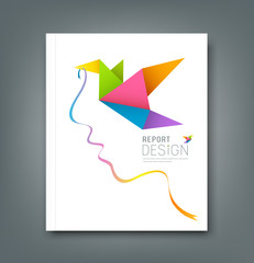 Cover Magazine colorful origami birds with ribbon shape face