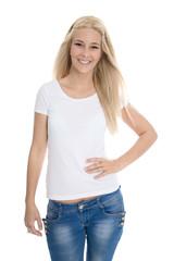 Hübsches lachendes blondes Mädchen isoliert