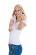 Junge begeisterte Frau freigestellt in Jeans und Shirt