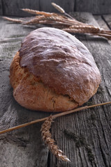 .Healthy homemade bread from organic grains on a wooden table