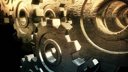 Abstract  gold gears