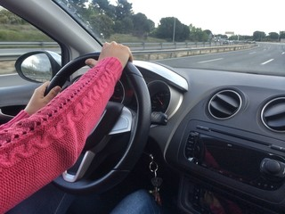 A girl driving
