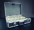 Case full of money on gray background