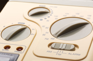 Control panel of radio, closeup picture