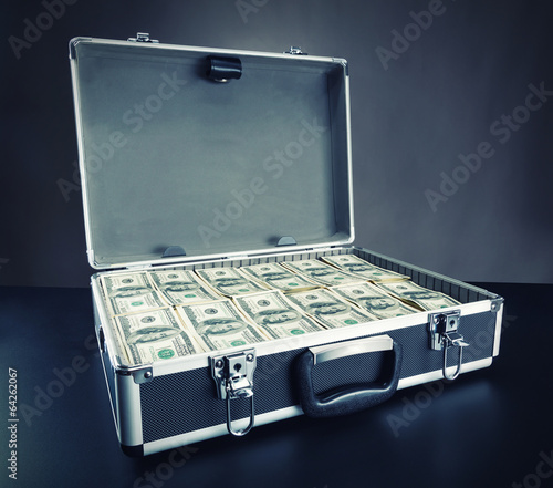 Case full of money on gray background