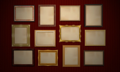 Gallery, blank frames on red wall