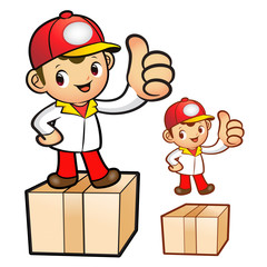 Red Delivery Man Mascot the hand best gesture. Product and Distr