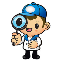 Blue Delivery Man mascot examine a with a magnifying glass. Prod