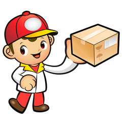 Red Delivery Man mascot deliver box. Product and Distribution Sy