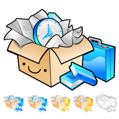 Delivery box packaging Illustration. Product and Distribution Sy