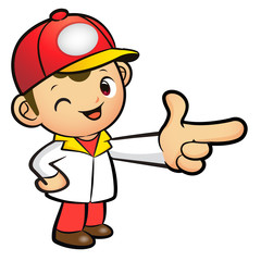 Red Delivery Man mascot the direction of pointing. Product and D