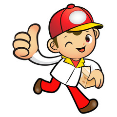 Red Delivery Man Mascot the right hand best gesture and left han