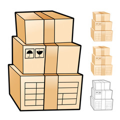 Different styles of Delivery Box Sets. Product and Distribution