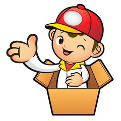 Red Delivery Man Mascot in box the hand guide. Product and Distr
