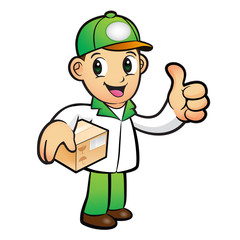 Green Delivery Man Mascot the left hand best gesture and right h