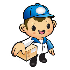 Blue Delivery Man Mascot the hand is holding a Box. Product and