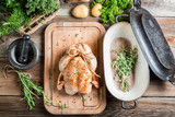 Preparation for roasting chicken with herbs Kanvas Tablo