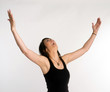 Pretty Brunette Woman Holds Arms Outstretched Jubilant Looking U