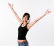Pretty Brunette Woman Holds Arms Outstretched Jubilant Looking