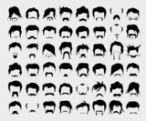 vector set of whiskers and hairstyles poster