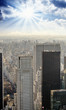 Dramatic sky over New York City - Aerial view