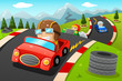 Kids in a car racing - 64265093