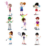 Fototapety Kids exercising and playing different sports