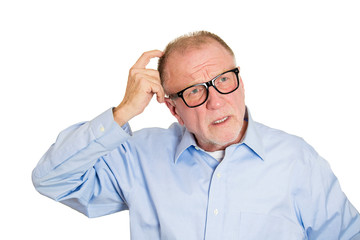 Can't remember. Portrait confused man having memory loss