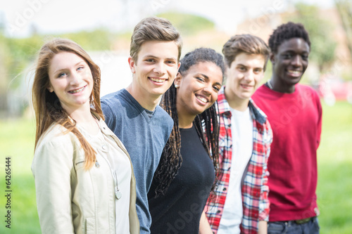 canvas print picture Multiethnic Group of Teenagers Outdoor