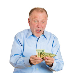 Portrait elderly man Happy to have money, white background