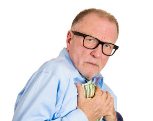 Portrait, headshot Stingy senior man, holding, smelling money