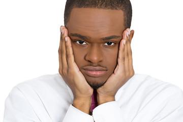 Depression. Sad gloomy young business man