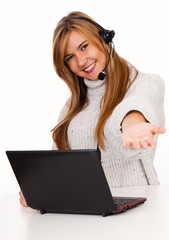 female call operator smiling with headset