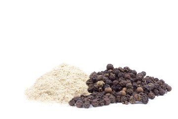 Black pepper corns scattered on white background and Black peppe