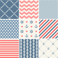 Navy vector seamless patterns set