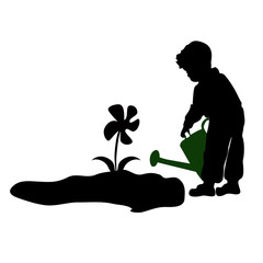 silhouette of a child watering flowers