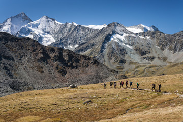 group of walkers in Val d'Anniviers, Switzerland