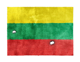 weathered flag of Lithuania