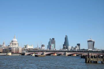 London skyline across River Thames at Blackfriars